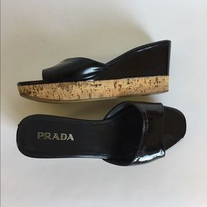 Prada Black Patent Leather Cork Wedge Sandals